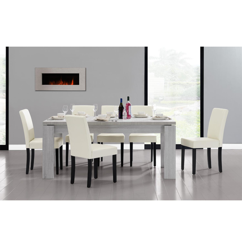 esstisch 180x95 eiche weiss 6 st hle creme esszimmer tisch neu. Black Bedroom Furniture Sets. Home Design Ideas