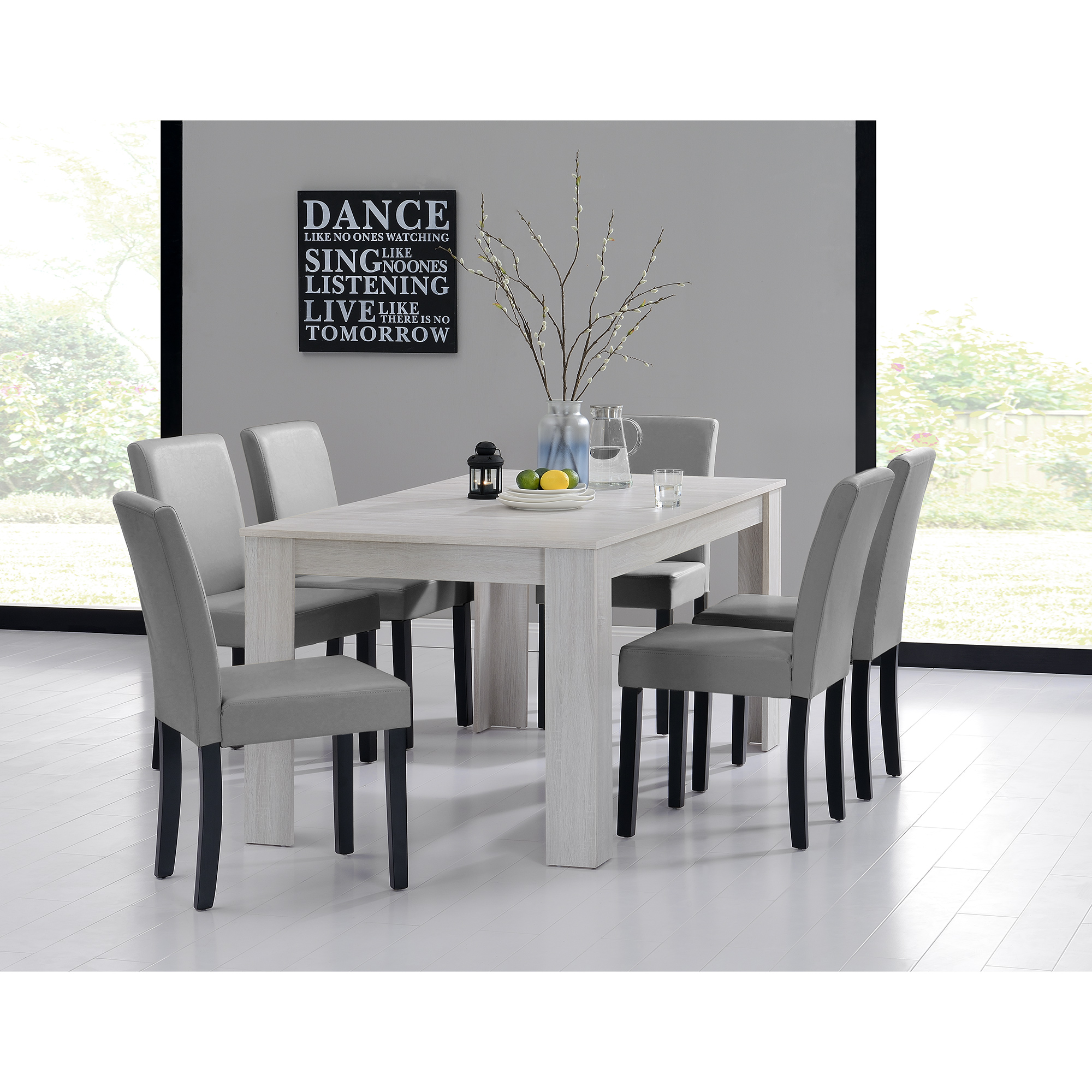 Mesa de comedor 160x90 roble blanco 6 sillas for Sillas de comedor color gris