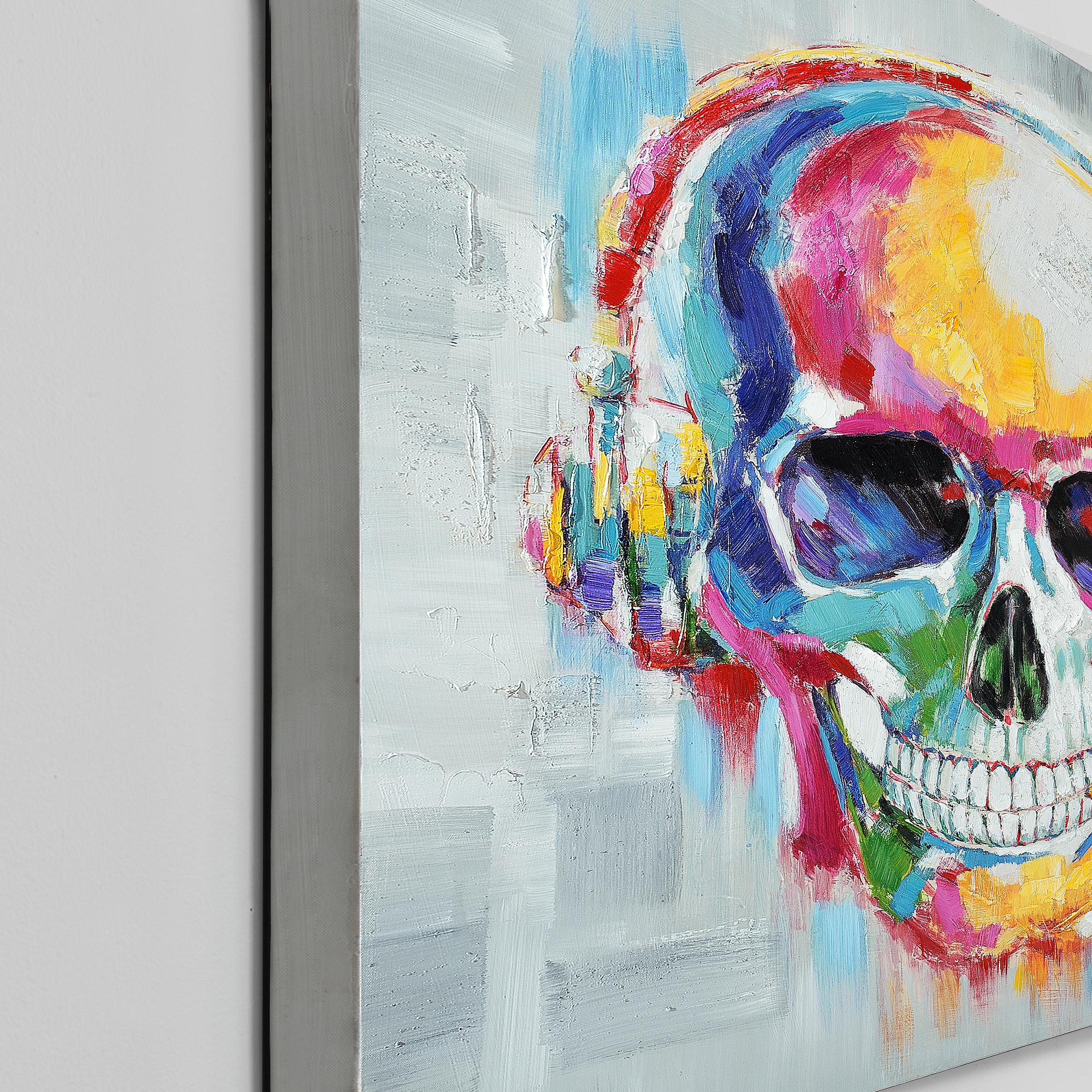 Wandbild 100x100cm totenkopf handgemalt leinwand gerahmt acryl deko - Totenkopf wandbild ...