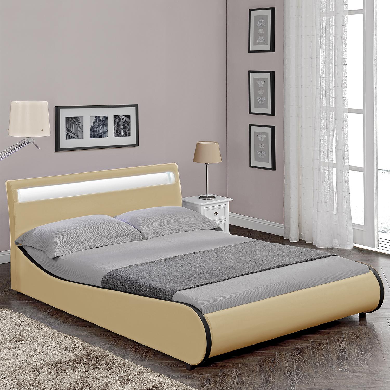 corium polsterbett 140 180x200 wei schwarz pu leder. Black Bedroom Furniture Sets. Home Design Ideas