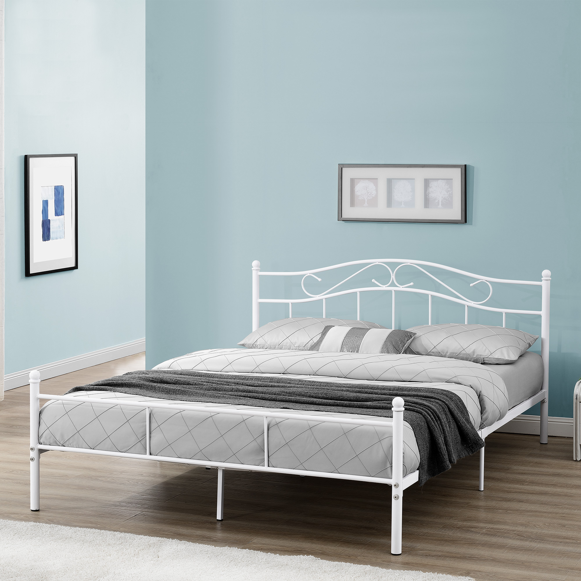 metallbett 140 160 180 200x200cm bett bettgestell doppelbett ehebett ebay. Black Bedroom Furniture Sets. Home Design Ideas