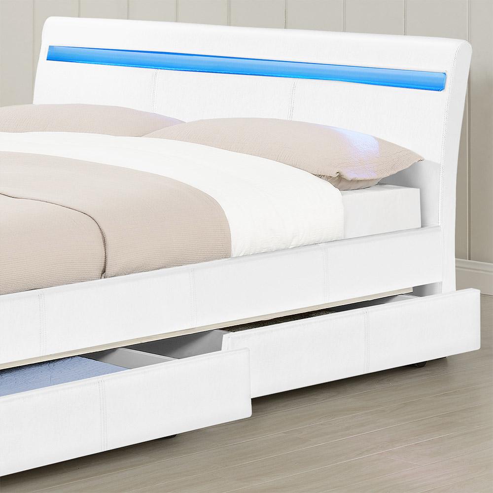 corium polsterbett 140 180x200 wei schwarz kunst leder doppel bett kasten. Black Bedroom Furniture Sets. Home Design Ideas