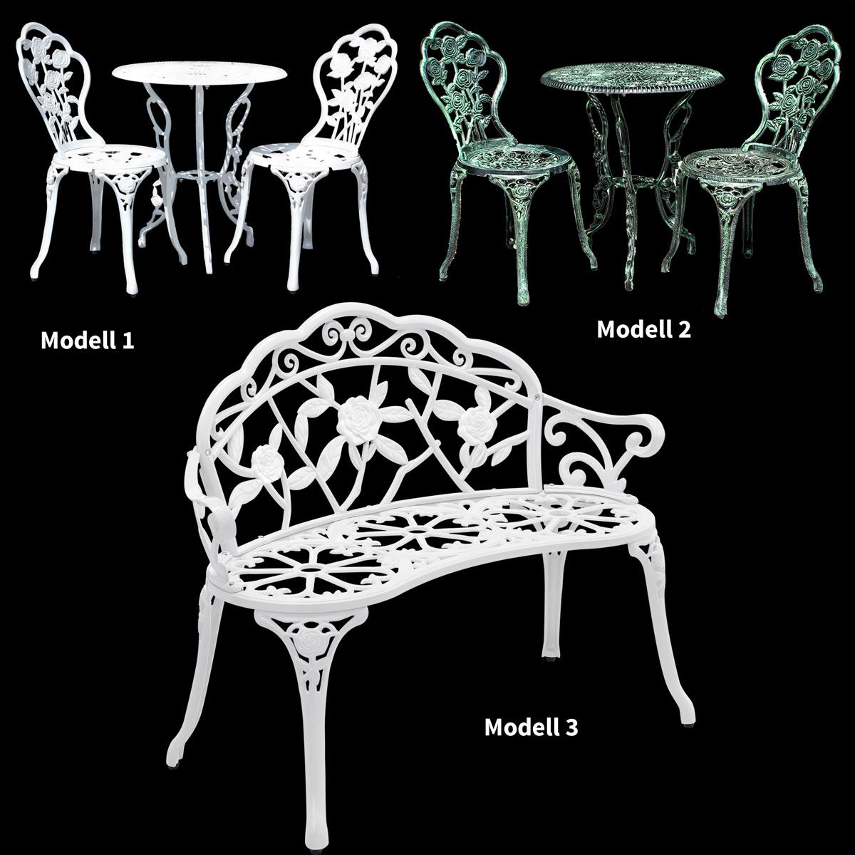 TABLE + 2 CHAIRS BENCH ANTIQUE WHITE GREEN BISTRO SET GARDEN SOFA  => Gartenmobel Set Vintage