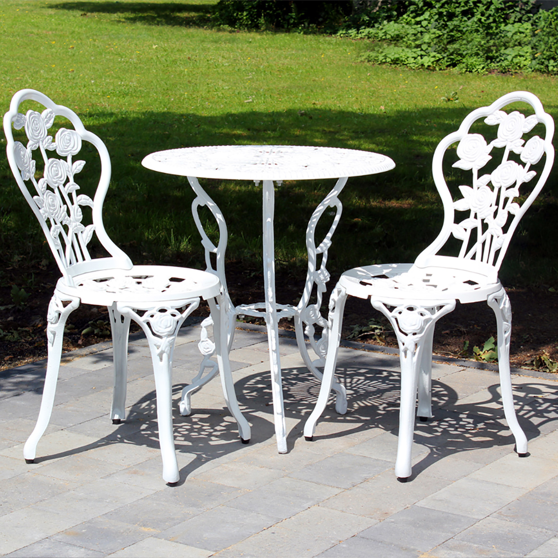 tisch 2 st hle bank antik weiss gr n bistro set garten. Black Bedroom Furniture Sets. Home Design Ideas