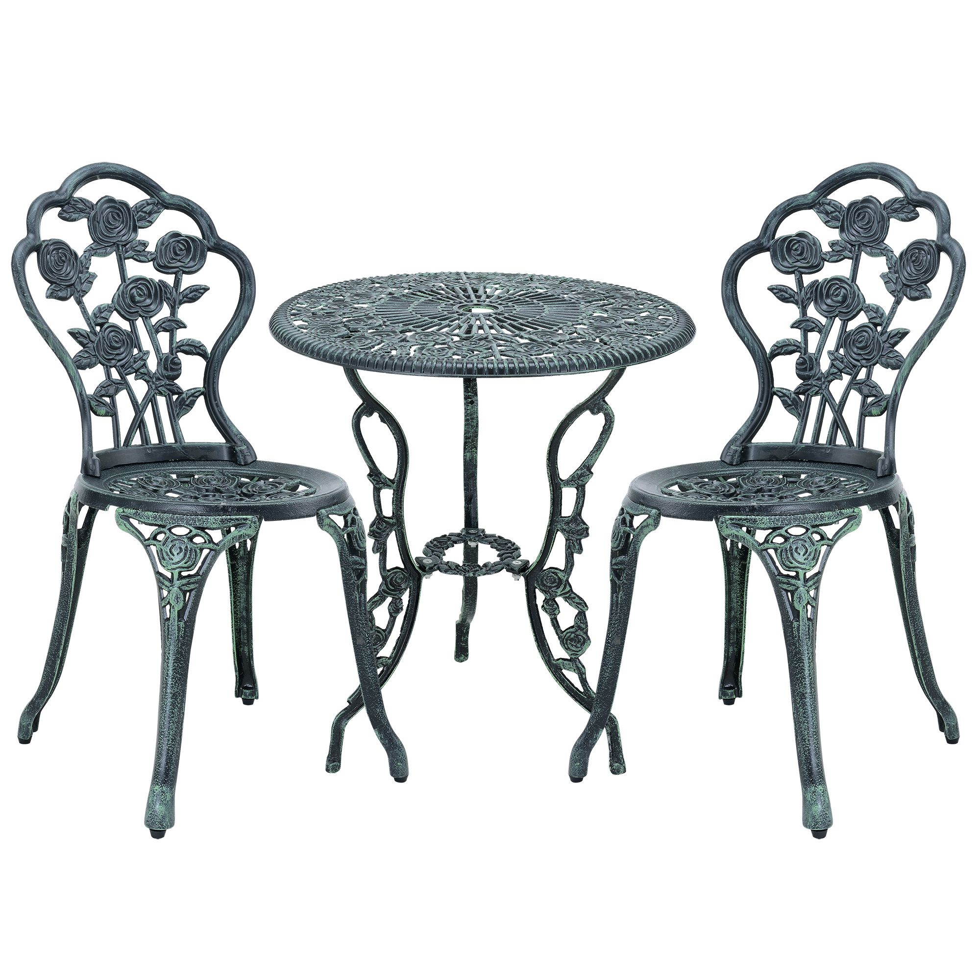 table 2 chairs cast iron antique dark green bistro set. Black Bedroom Furniture Sets. Home Design Ideas