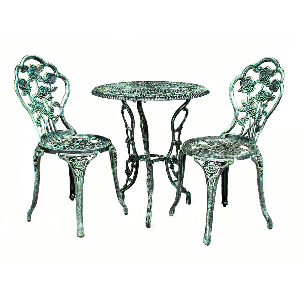 table 2 chairs bench antique white green bistro set garden sofa aluminium cast ebay. Black Bedroom Furniture Sets. Home Design Ideas