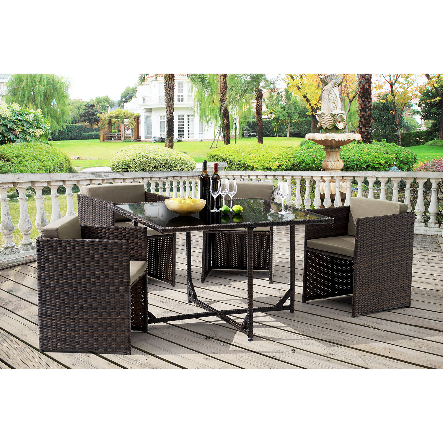 Casa pro poly rotin si ges table 4 chaises salon jardin for Casa meubles de jardin