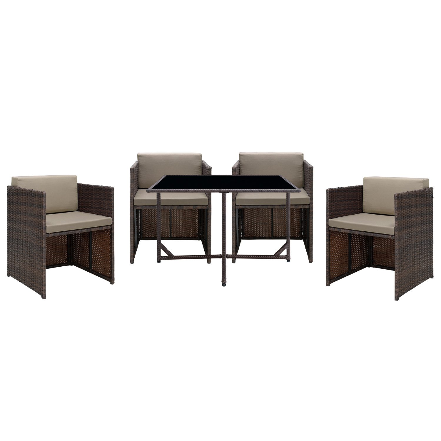 casa pro poly rattan sitzgruppe tisch 4 st hle lounge garten garnitur m bel ebay. Black Bedroom Furniture Sets. Home Design Ideas