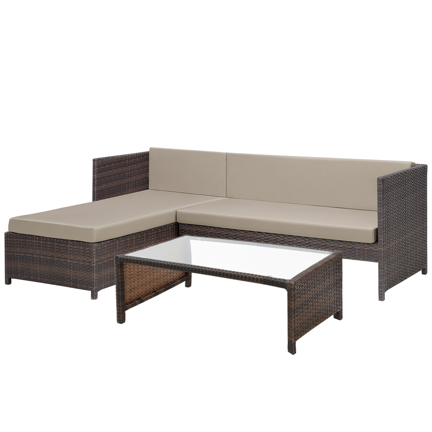 casa pro poly rattan lounge corner sofa table garden set polyrattan furniture ebay. Black Bedroom Furniture Sets. Home Design Ideas