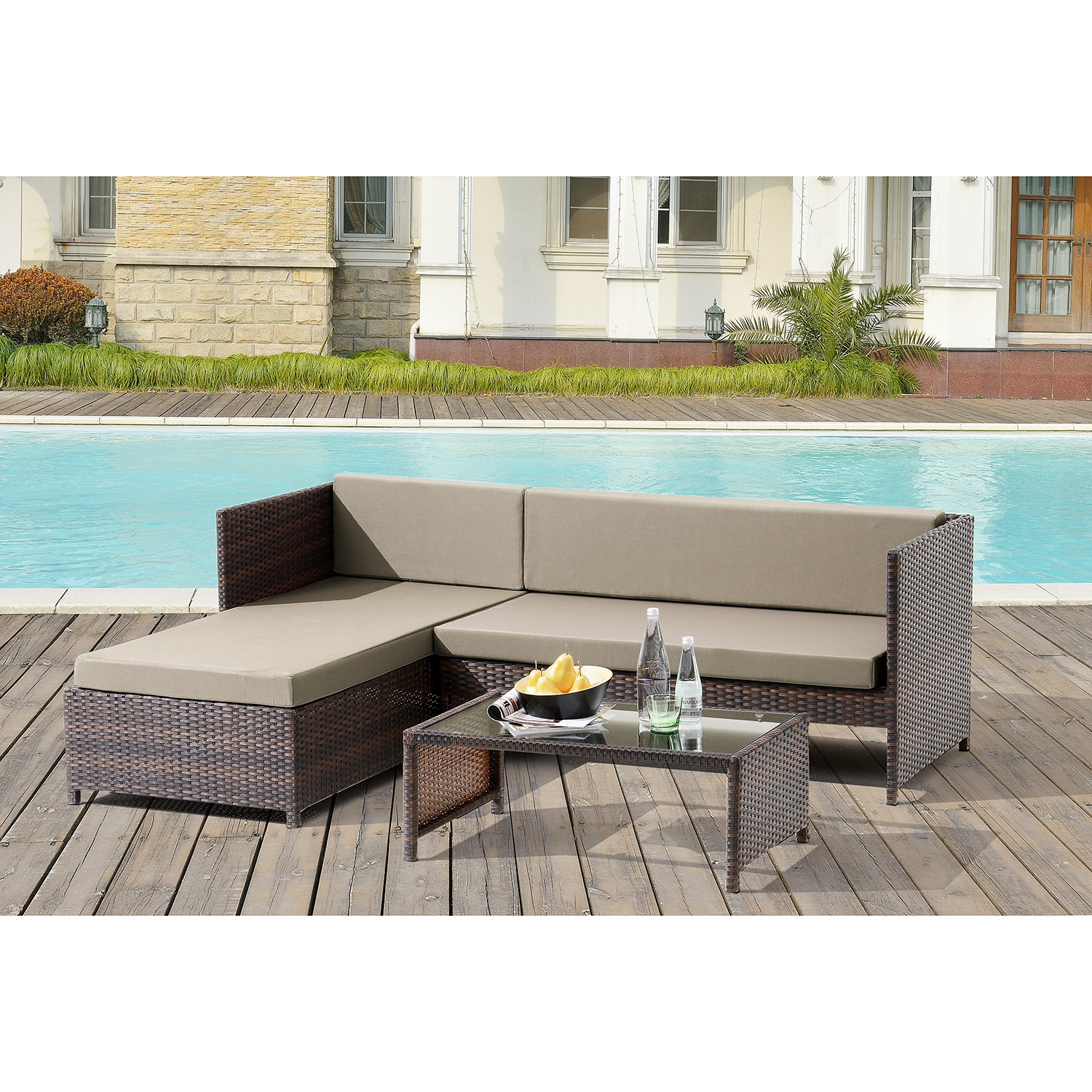 Qvc Programm Gartenmobel :  POLY RATTAN Lounge Corner Sofa + Table Garden Set Polyrattan Furniture