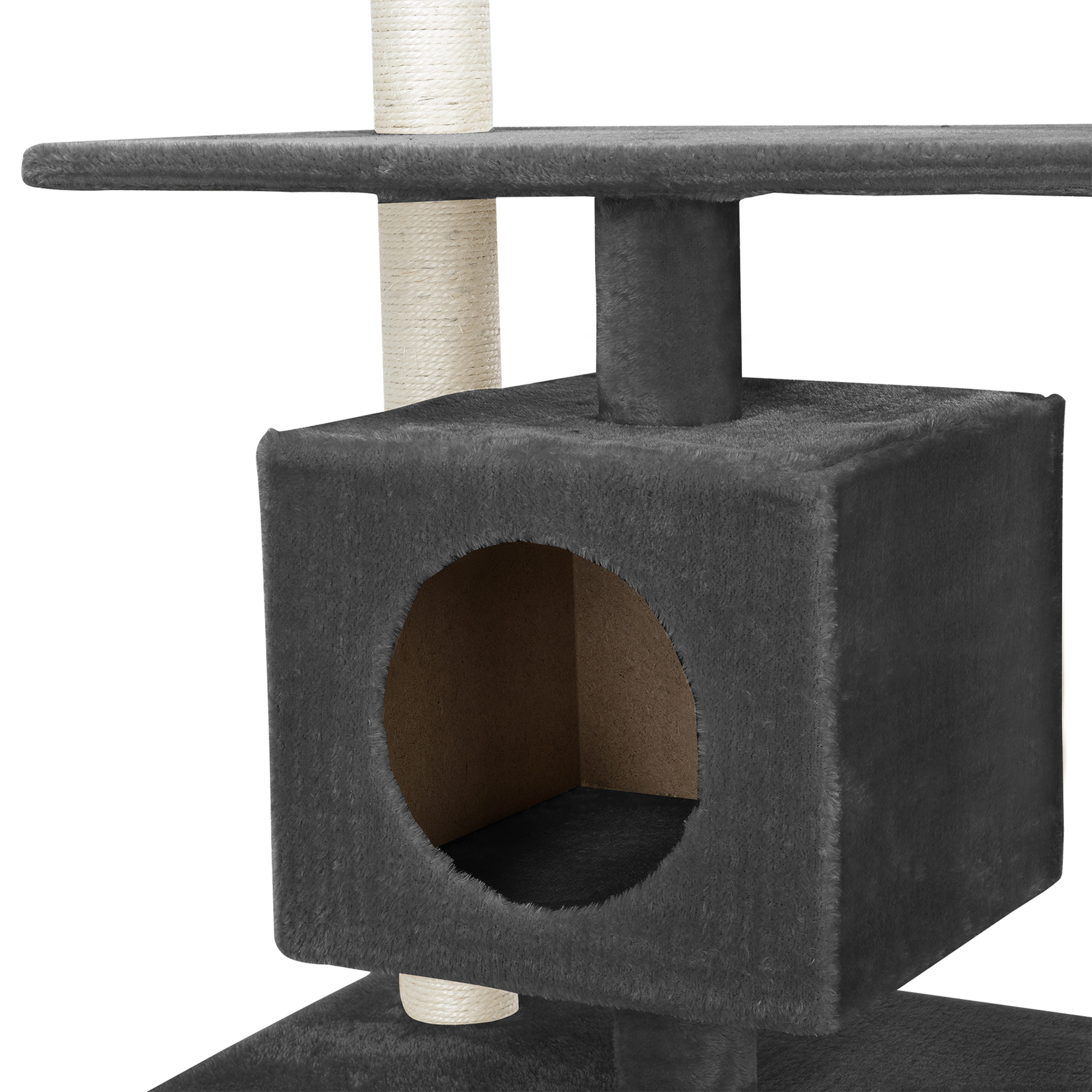 kratzbaum grau deckenhoch kletterbaum katzen baum pl sch sisal ebay. Black Bedroom Furniture Sets. Home Design Ideas