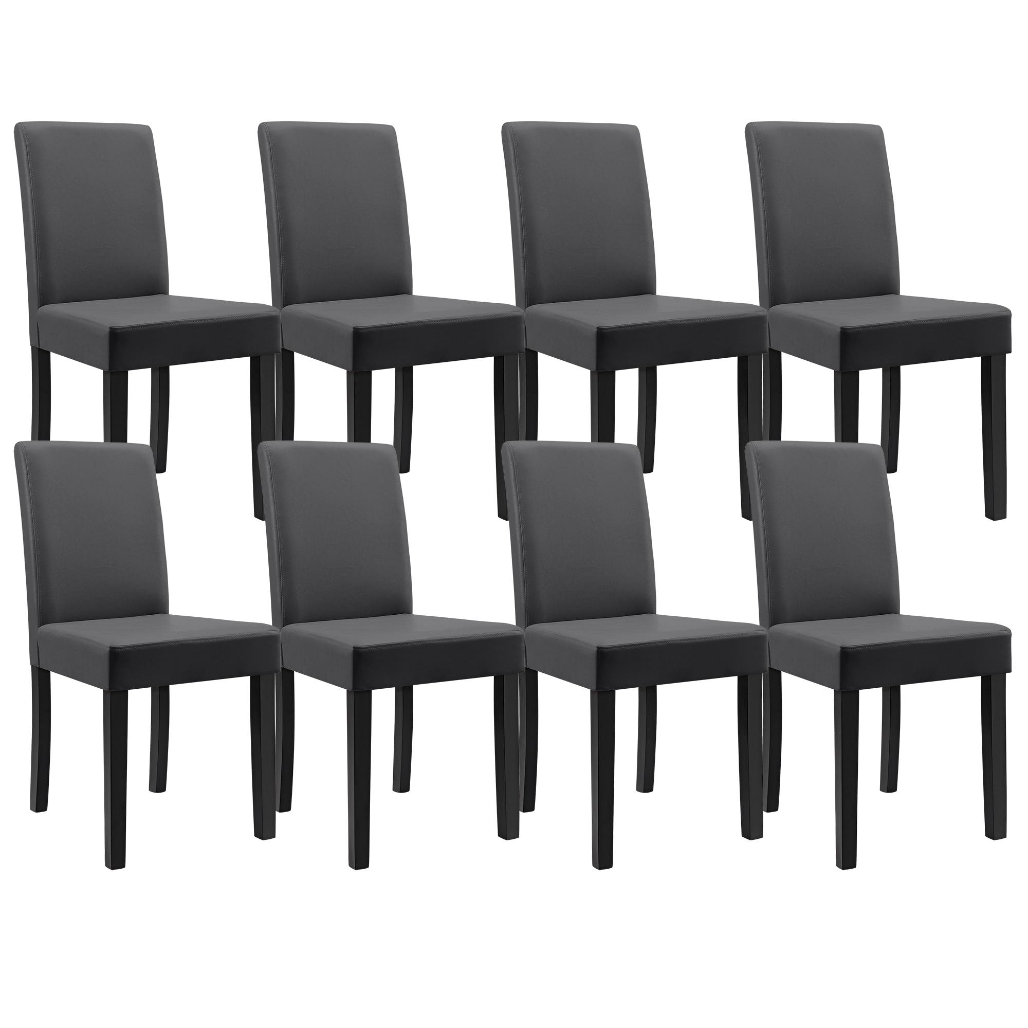8x chaises dossier haut salle manger gris fonc for Chaises salle manger cuir dossier haut