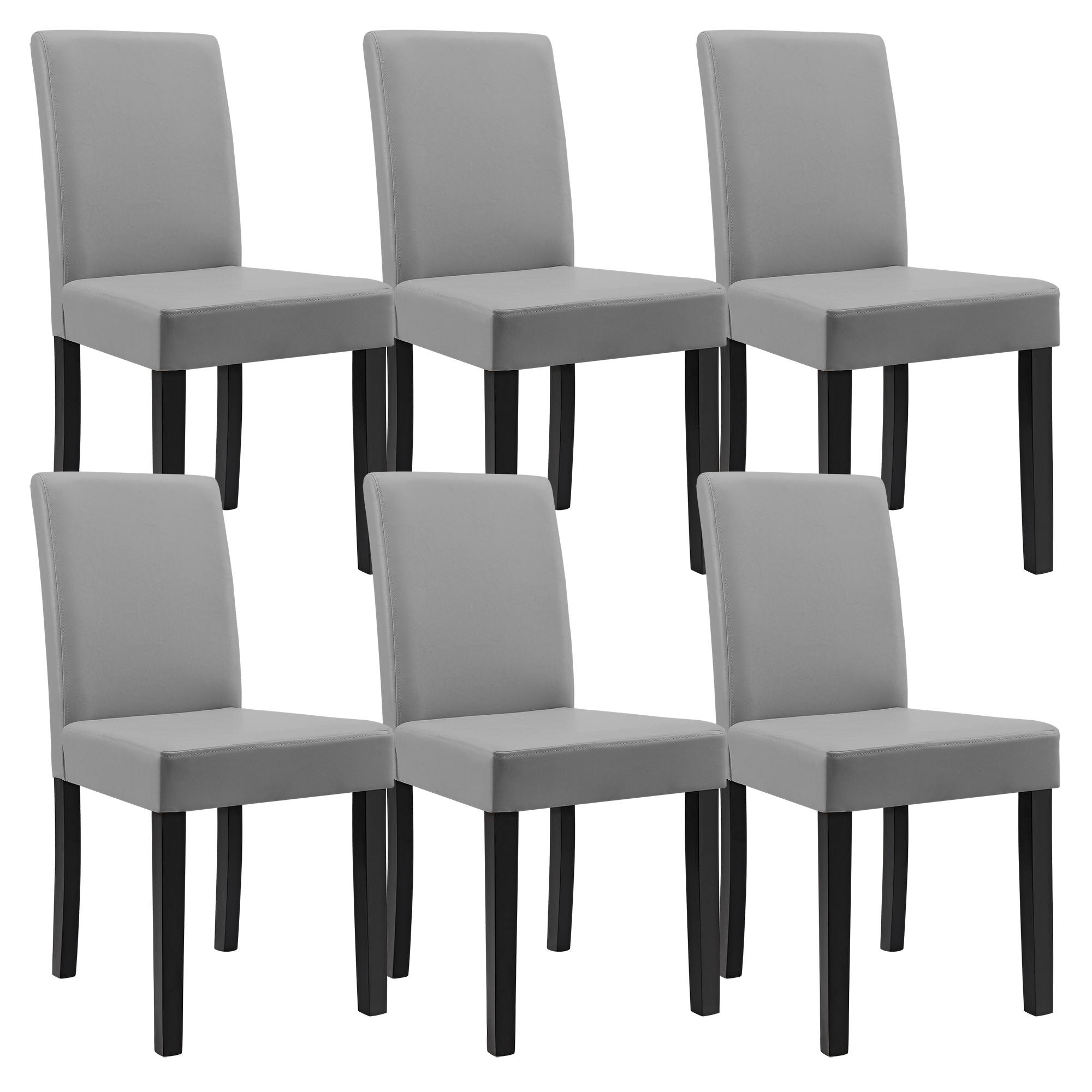 6x chaises dossier haut salle manger gris clair similicuir rembourrage - Chaise haut dossier salle a manger ...