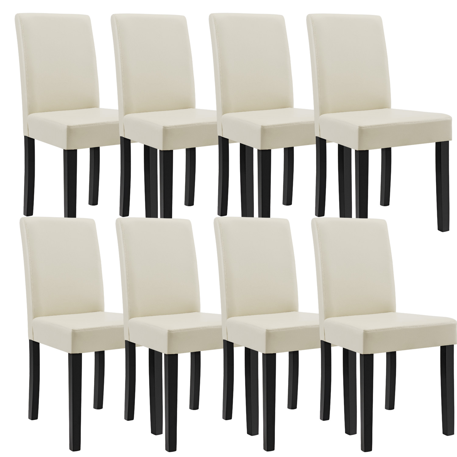 8x st hle hochlehner esszimmer st hle creme kunst leder polster stuhl ebay. Black Bedroom Furniture Sets. Home Design Ideas